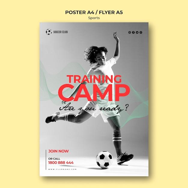 Plakat Obozu Szkoleniowego Klubu Piłkarskiego Darmowe Psd