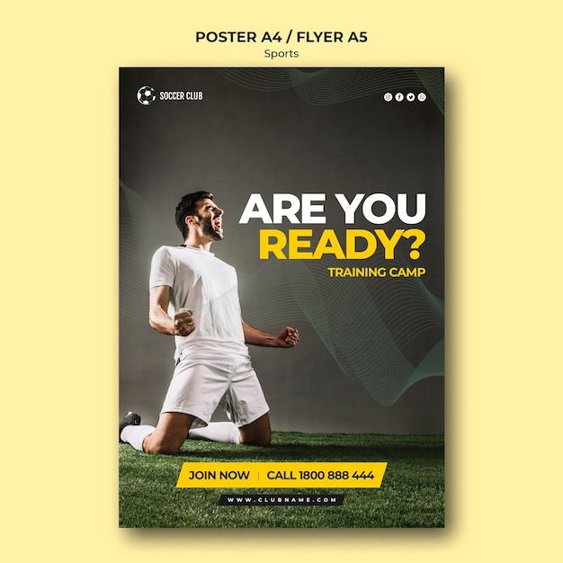 Plakat Obozu Szkoleniowego Klubu Piłkarskiego Premium Psd