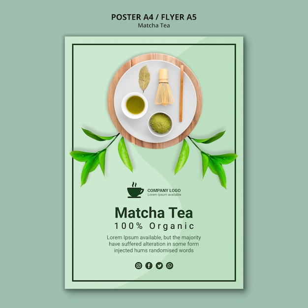 Plakat Szablon Koncepcji Herbaty Matcha Darmowe Psd