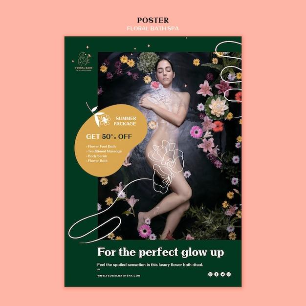 Plakat Szablon Reklamy Kwiatowy Spa Darmowe Psd