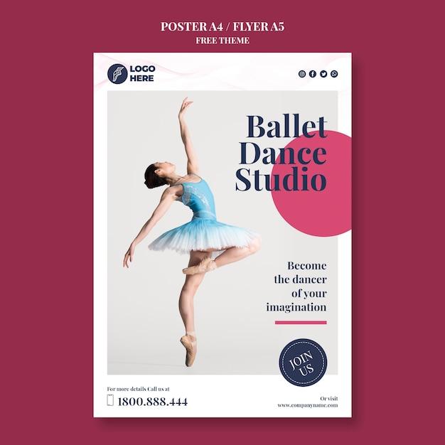Plakat Szablon Studio Tańca Darmowe Psd