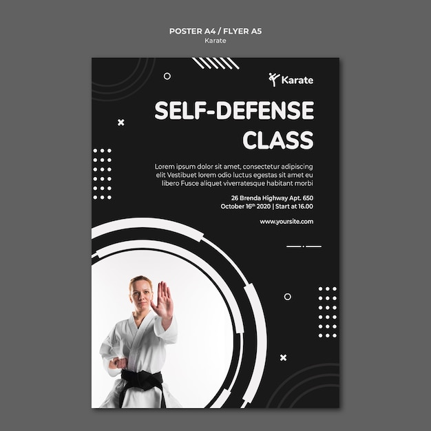 Plakat Szablonu Reklamy Klasy Karate Darmowe Psd