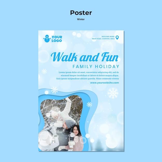 Plakat Szablonu Reklamy Zimowego Czasu Rodzinnego Darmowe Psd