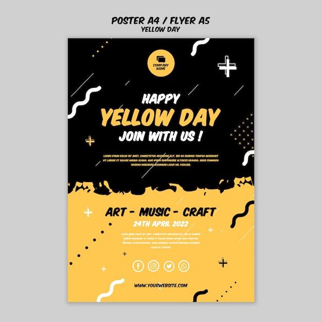 Plakat Z Motywem żółtego Dnia Darmowe Psd