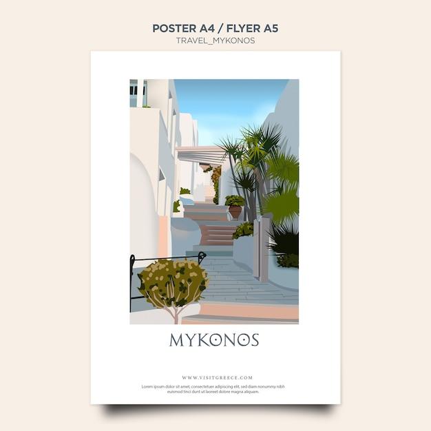 Plakat Z Szablonem Podróży Mykonos Darmowe Psd