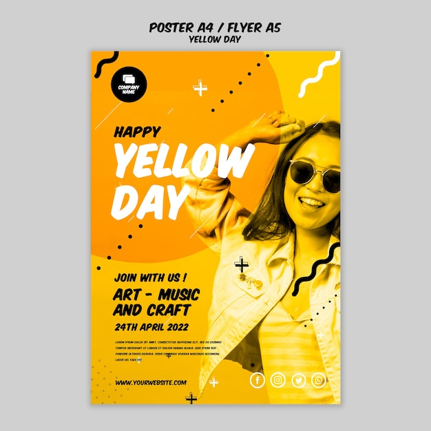 Plakat Z żółtym Wzorem Dnia Darmowe Psd