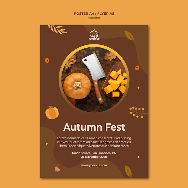 Plakatowy Szablon Jesień Fest Premium Psd