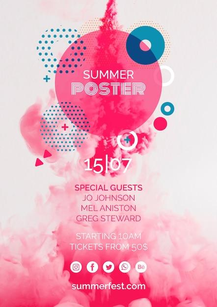 Plakatowy szablon na letni festiwal Darmowe Psd
