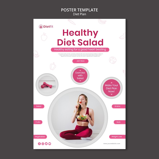 Plakatowy Szablon Reklamy Planu Diety Darmowe Psd