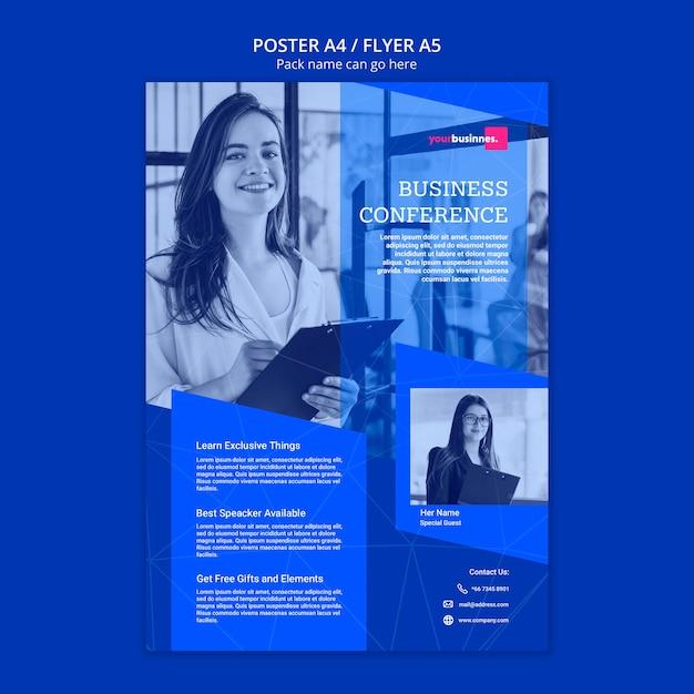 Plakatowy Szablon Z Biznesową Kobietą Darmowe Psd
