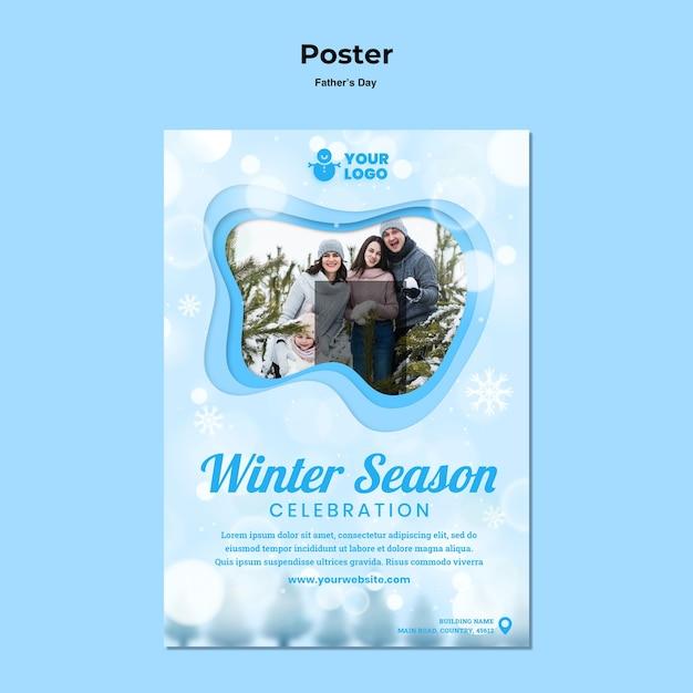 Plakatowy Zimowy Czas Rodzinny Szablon Darmowe Psd
