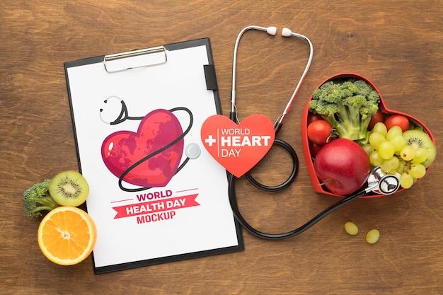 Płaski Dzień Zdrowia Makiety Zdrowej żywności Premium Psd