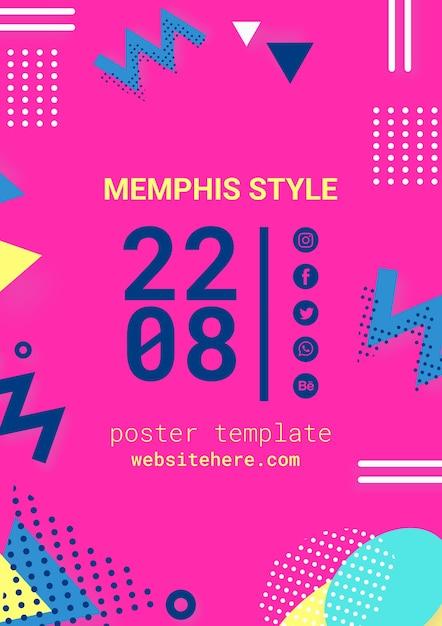 Płaski Różowy Plakat W Stylu Memphis Darmowe Psd