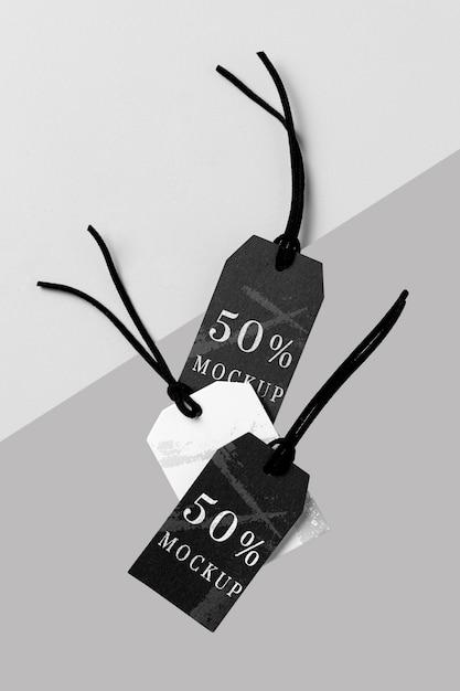 Płaski Układ Makiet Czarno-białych Metek Odzieżowych Darmowe Psd
