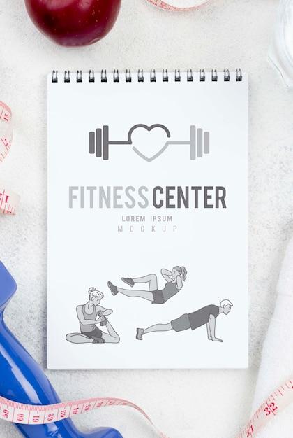 Płaski Układ Notebooka Fitness Z Miarką I Jabłkiem Darmowe Psd