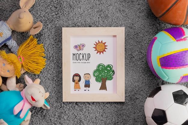 Płaski Układ Zabawek Dla Dzieci I Piłek Z Ramą Darmowe Psd