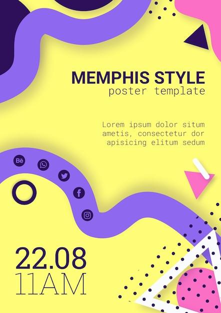 Płaski żółty Plakat W Stylu Memphis Darmowe Psd