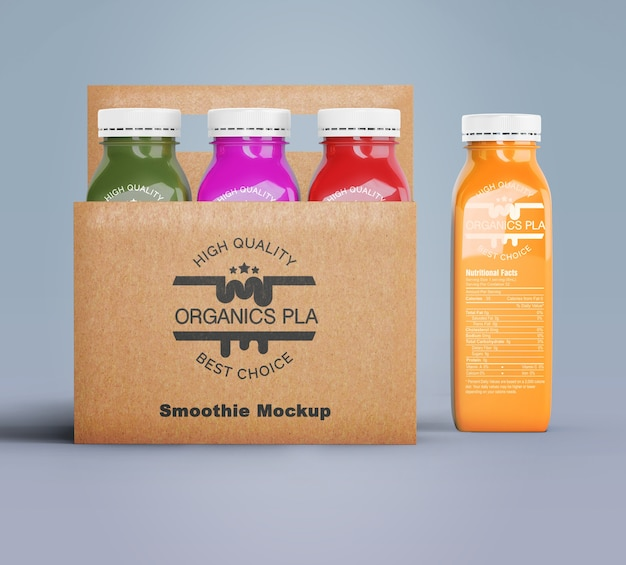 Plastikowe Butelki Organicznego Smoothie W Kartonowych Pudełkach Darmowe Psd