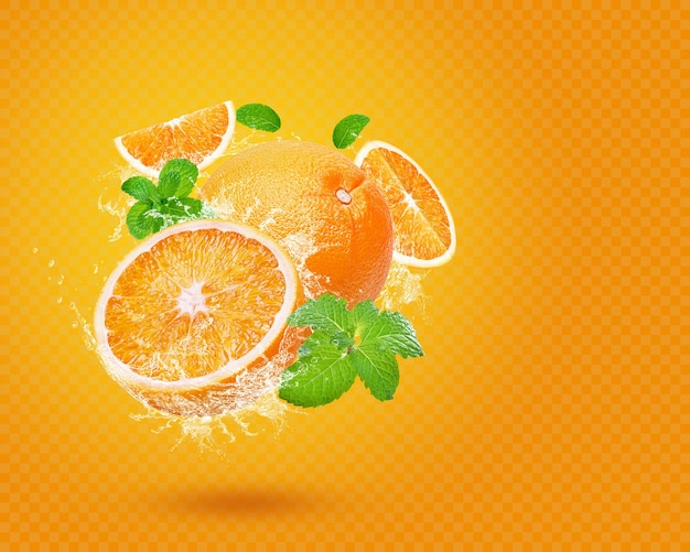 Plusk Wody Na świeżej Pomarańczy Z Miętą Na Białym Tle Premium Psd
