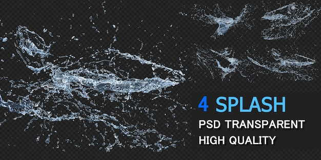 Plusk Wody Z Kropelkami Pack Design Na Białym Tle Premium Psd