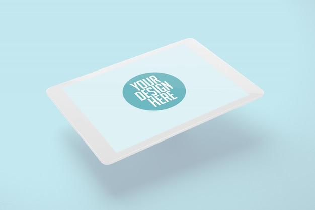 Pływający Biały Tablet Makieta Na Białym Tle Na światło Niebieskie Tło Premium Psd