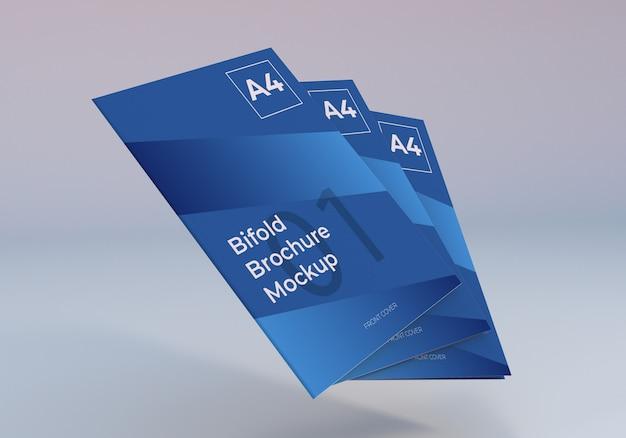 Pływający Stos A4 Bifold Broszura Makieta Premium Psd