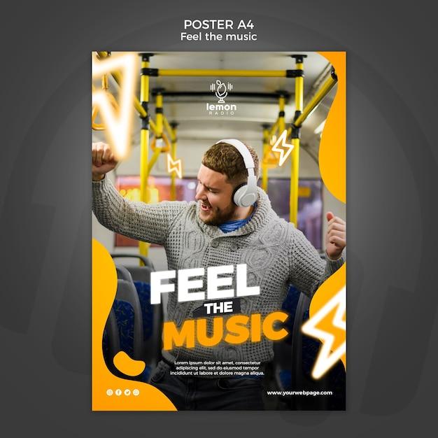 Poczuj Szablon Plakatu Koncepcyjnego Muzyki Premium Psd
