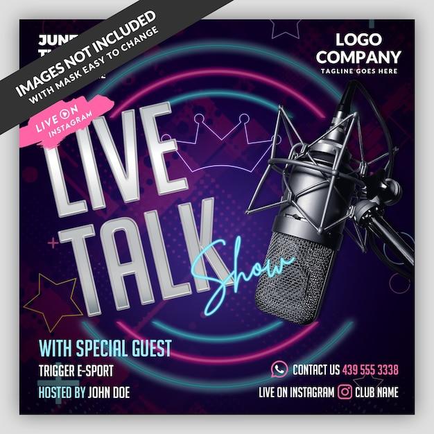 Podcast Live Flyer Banner Szablon Mediów Społecznościowych Premium Psd