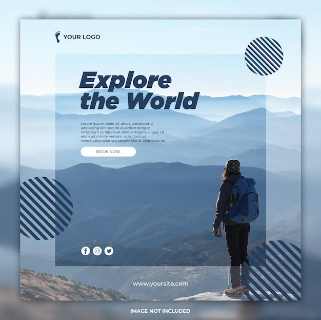 Podróż Baner Przygoda Wycieczki Instagram Post Lub Kwadratowy Szablon Banner Premium Psd