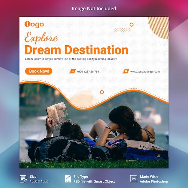 Podróż wakacje baner społecznościowy Premium Psd