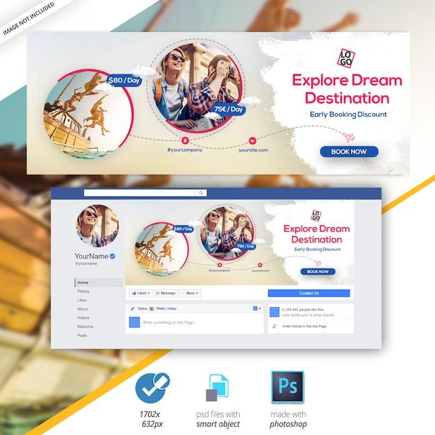 Podróże - wycieczki banner facebook cover Premium Psd