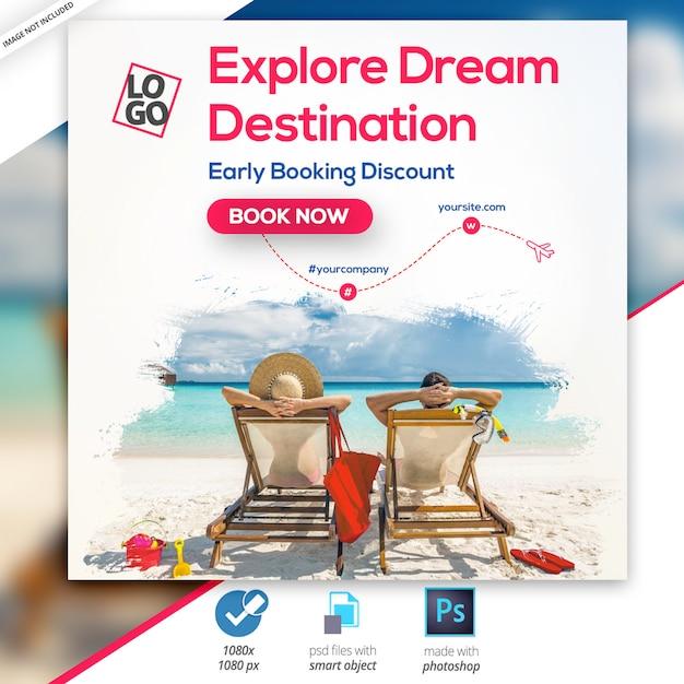 Podróże - wycieczki banner instagram Premium Psd