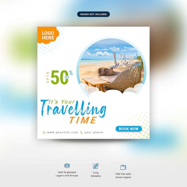 Podróżna oferta rabatowa szablon społecznościowy post premium psd Premium Psd