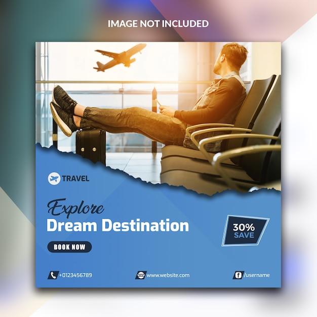 Podróżuj w mediach społecznościowych Premium Psd