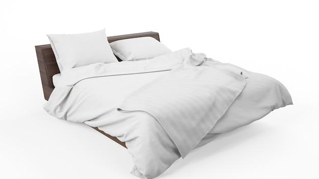 Podwójne łóżko Z Białą Narzutą I Kołdrą Na Białym Tle Darmowe Psd