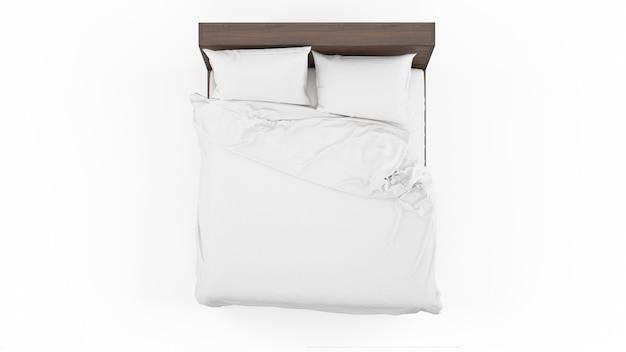 Podwójne łóżko Z Białą Pościelą Na Białym Tle, Widok Z Góry Darmowe Psd
