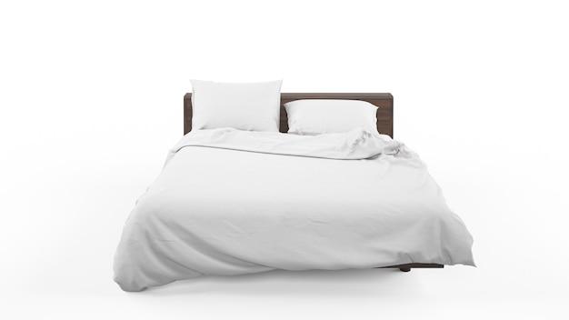 Podwójne łóżko Z Białą Pościelą Na Białym Tle Darmowe Psd