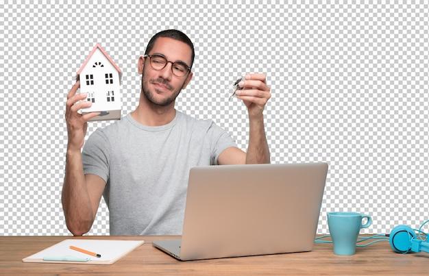 Pojęcie Młody Człowiek Oferuje Nowego Dom Premium Psd
