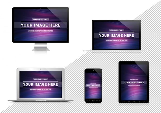 Pojedyncze wyciąć kolekcję urządzeń z makietą shadows Premium Psd