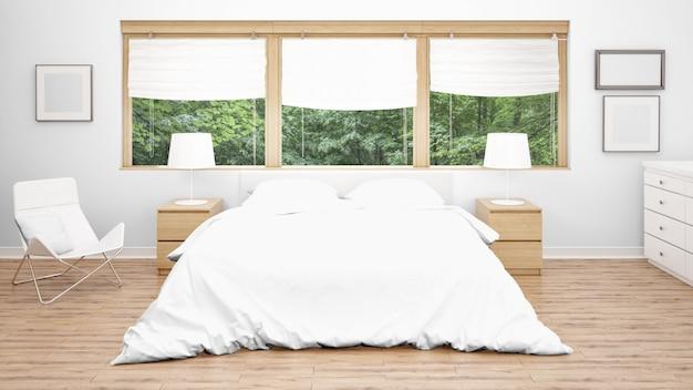 Pokój Hotelowy Lub Sypialnia Z Podwójnym łóżkiem I Dużymi Oknami Darmowe Psd