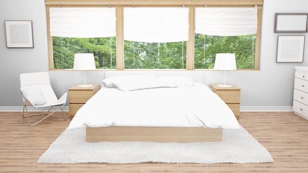 Pokój Hotelowy Lub Sypialnia Z Podwójnym łóżkiem I Widokiem Na Ogród Z Okien Darmowe Psd