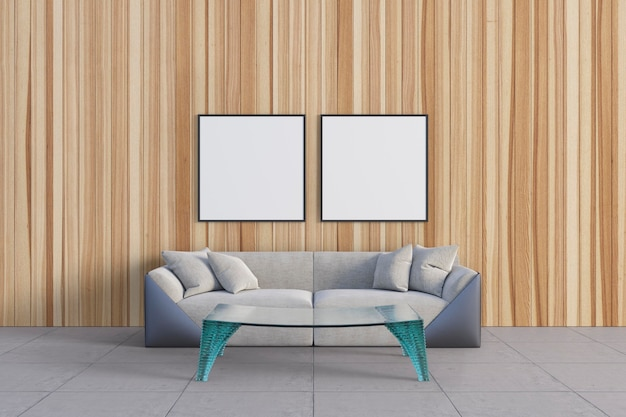 Pokój Z Piękną Drewnianą ścianą I Makietami Premium Psd