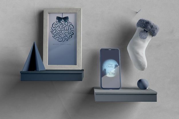 Półki Z Malowaniem I Makietą Telefonu Darmowe Psd
