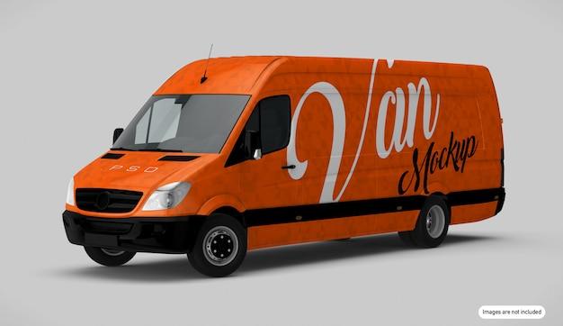 Pomarańczowy Makieta Van Premium Psd