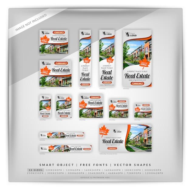 Pomarańczowy Real Estate Google Banner Set Premium Psd