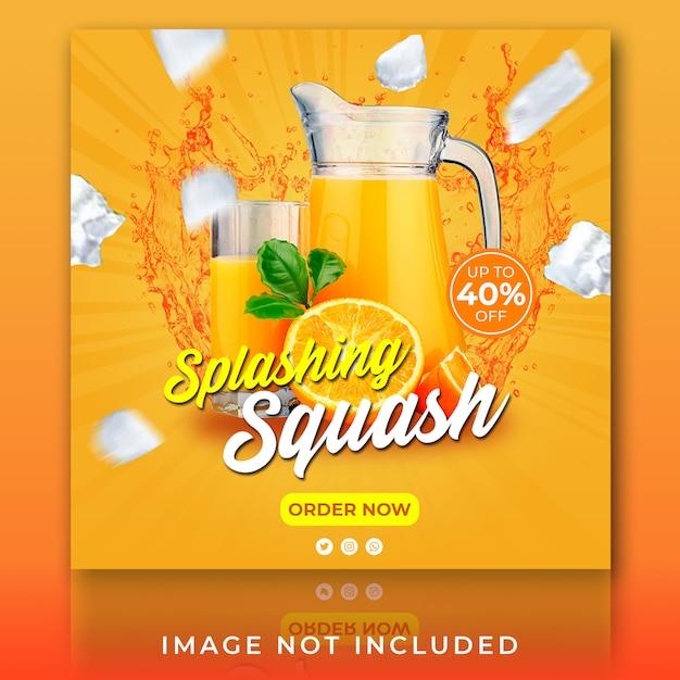 Post Na Instagramie Lub Banner Kwadratowy Letni Napój Do Squasha Premium Psd