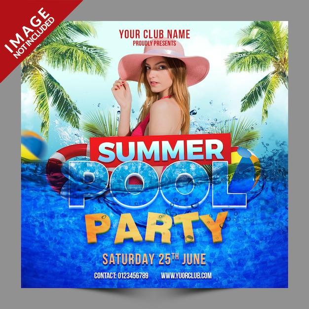 Post Na Psd Social Pool Party Premium Psd