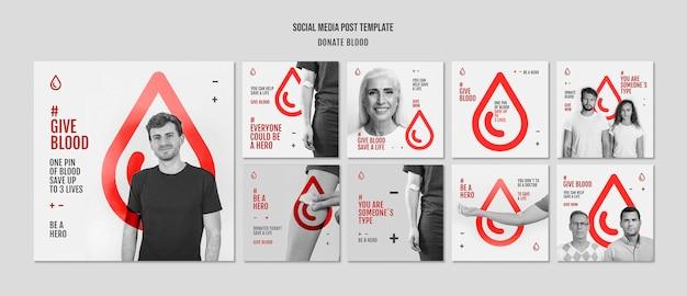 Post W Mediach Społecznościowych Dotyczący Kampanii Oddawania Krwi Premium Psd