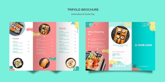 Potrójna Broszura Z Okazji Międzynarodowego Dnia Sushi Darmowe Psd