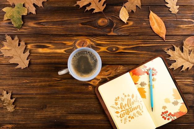Powyżej Widok Otwarty Notatnik Z Zestawem Do Kawy Darmowe Psd